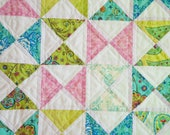 Pink and Green Hourglass Baby Quilt