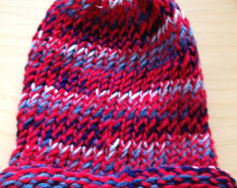 Red and Multi Color Blue Winter Hat