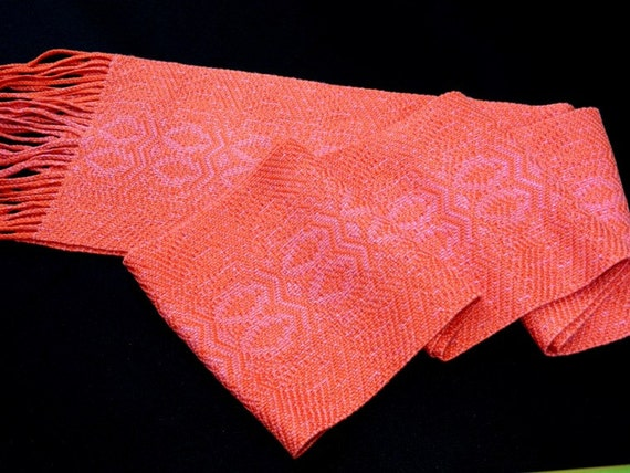 Coral Rose Neckscarf, Handmade, Handwoven Accent Scarf, Fancy Twill Scarf