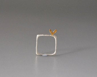 Square Love  Matte Sterling Silver Ring with Litle Heart on Top Gold Plated Statment Ring Perfect to show Your Love