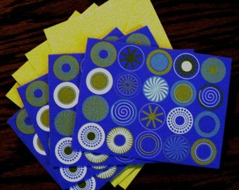 destash cards scrapbooking ... PURPLE CIRCLES CARDS grp of 4 with envelopes ...