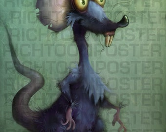 Poster Cartoon Rat Digital Painting