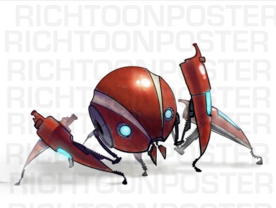 Poster Red Richtoon Bot Digital Painting