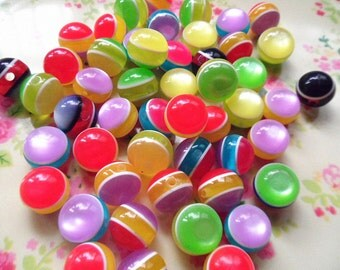 25 pcs-Resin Mixed colors Cat's Eye   beads 11mm