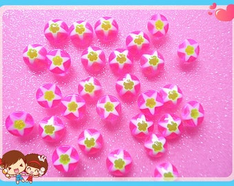 30pcs Pink Star Resin flatback cabochon 8mm