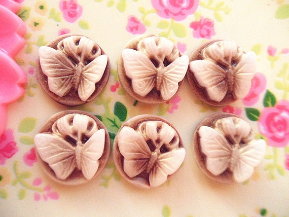 6pcs Coffee flat back  cameo butterfly cabochon Round 15mm