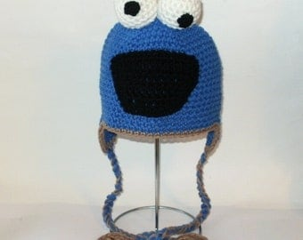 Blue Cookie Monster Earflap Hat. (Any Sizes: Newborn to Adult). Please send the size.