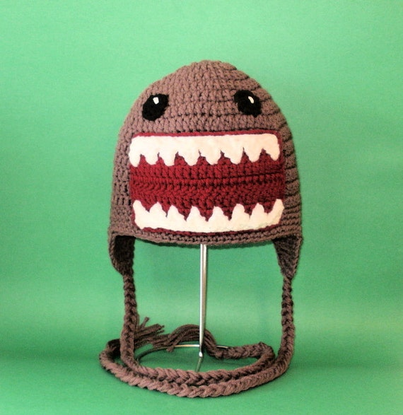 Crochet Pattern PDF Monster Hat. Beanie and Earflap. (All Sizes Included: Newborn to Adult). Permission to sell finished items.