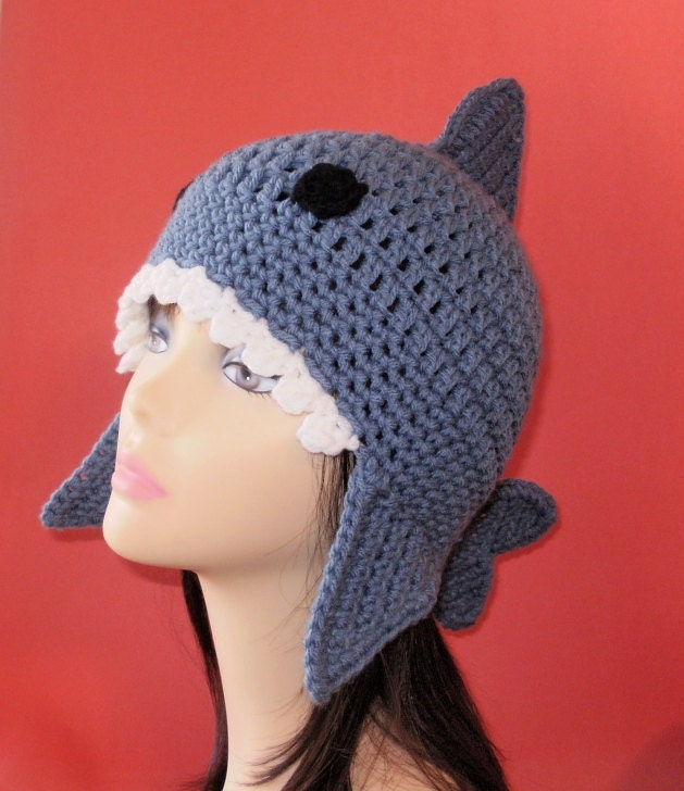 Crochet Pattern PDF Shark Earflap Hat. All Sizes by ...