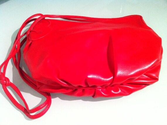 The Bold Handbag - Vibrant Red Modernist Vegan Leather Handbag with Side Flower Detail