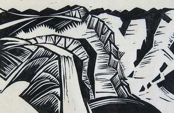 Linocut Relief Print -- La Chute Montmorency/ Montmorency Falls