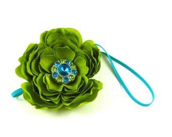 Lime Green Ranunculus Flower Turquoise Skinny Elastic Headband with Lime Green and Turquoise Rhinestone Center