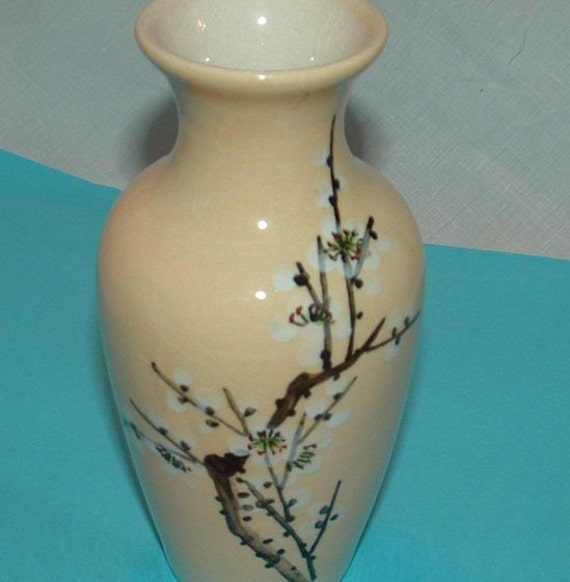 Creamy Ivory Ceramic Vase with hand painted Cherry Blossoms