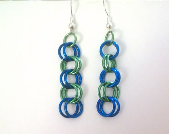 Chainmaille earrings, 2-in-2