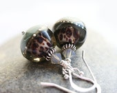 Grey earrings - lampwork glass beads on sterling silver, handmade - elegant, modern, classy - jewelry by MayaHoney
