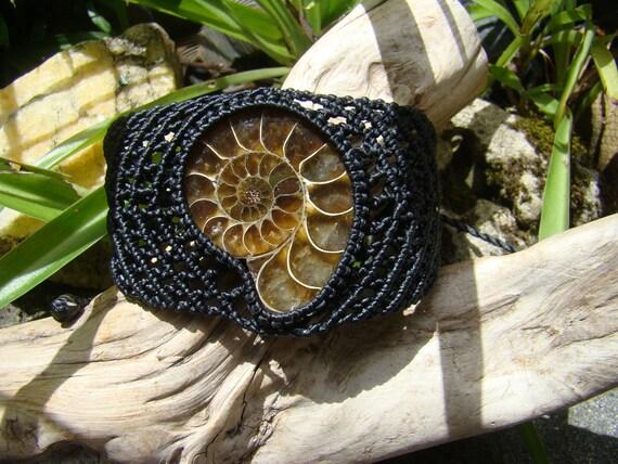 Fossil Ammonite Prehistoric Dinosaur age Shell, No-Metal Hypoallergenic , Micro Macrame Hand Made Eco-friendly Black Hemp Cord Cuff Bracelet
