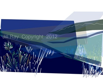 Edges Blue .. limited edition mounted giclee print, 14 x 8cm