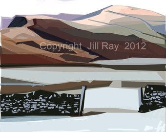 Lose Hill with a Dusting of snow .. Limited Edition Giclee print 20 x20cm , mounted