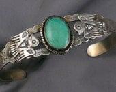 Fred Harvey Era- Navajo Sterling & Turquoise Thunderbird Cuff Bracelet