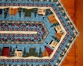 CLEARANCE - SALE - Quilted Striped Table Runner - Christmas Village - Reversible
