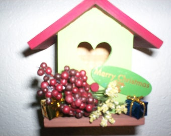 Red & Green Birdhouse Ornament