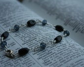 """Silver wire wrapped bracelet with Blue and Black Glass Beads - 7 1/4"""""""