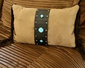 """Handmade """"Tres Cruces"""" turquoise pillow"""