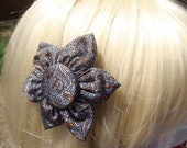 "Blue & Gold Silk ""Paisley"" Hair Clip / Pin"