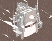 Jetpack Bear - A3 print.