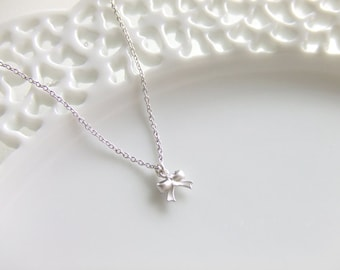 Mini Bow Tie Jewelry Necklace, Silver Simple Dainty, Sterling Silver Chain, Gift for Her
