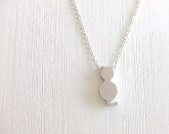 Mini Cat Jewelry Necklace, Silver Simple Dainty, Everyday Wearable, Gift for Her