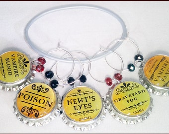 Halloween Bottle Cap Wine Charms - Newts Eyes - 5 Pack