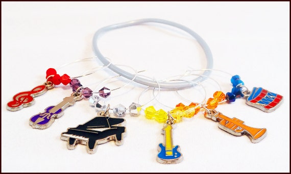 Music Wine Charms - Instrument Wine Charms - Gifts For Musicians - Musician Wine Charms - Music Gifts - Hostess Gift - Housewarming Gift
