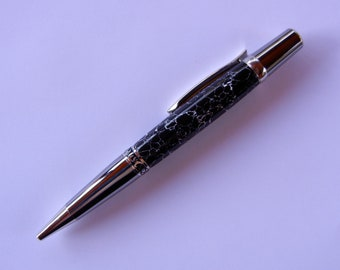 Elegant Beauty Sierra Pen - Black with White Web Tru-stone with Black Titanium and Platinum