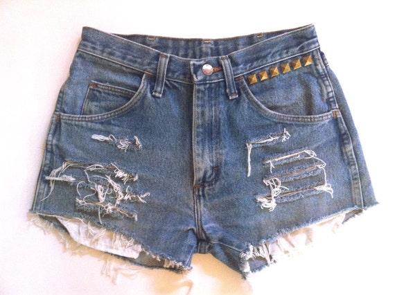 VTG size 26/27 High Waist 90s Ripped Frayed Studded Denim Rustler Shorts