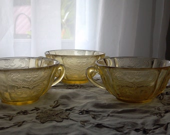 Madrid Cream Soup Bowls with handles-Amber