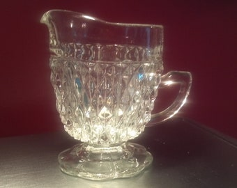 Indiana Glass Company Crystal Diamond Point Footed Creamer