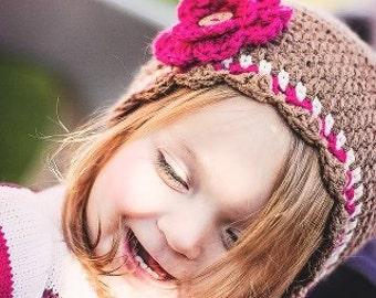 Dark pink and brown crochet beanie. Pink and brown fall hat. Pink and brown crochet hat with flower. Fall crochet beanie.