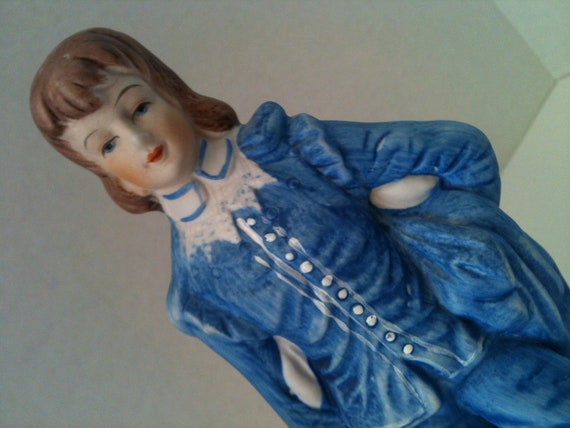 """Handsome Vintage porcelain blue boy figurine, 10"""" tall"""