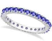 0.75ct Natural Tanzanite Eternity Stackable Ring Band 14K White Gold Women's