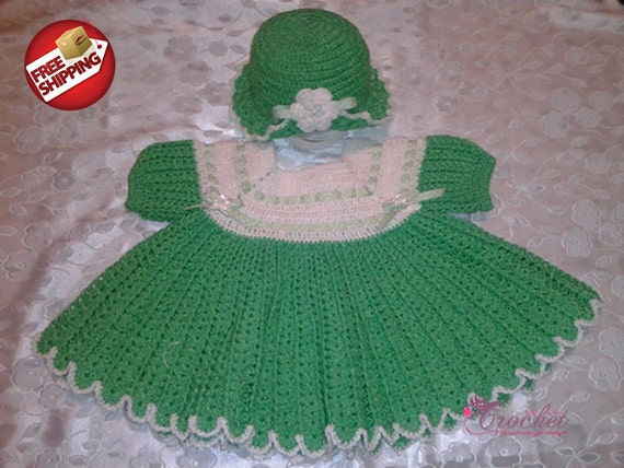 Green & White Dress -  Size 6 to 9 Months