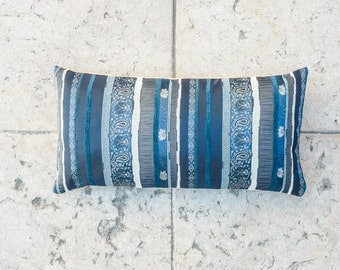 BLUE Lumbar PILLOW Cover, 12x24 inch, Chenille Embroidered, Decorative pillow cover, posh pillow, Lush pillow cover, Striped pillow cover