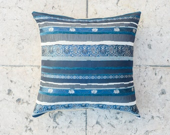 BLUE Embroidered BROCADE PILLOW Cover- 20x20 inch