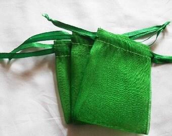 40 4x6 Emerald Green Organza bags, 4x6 inch