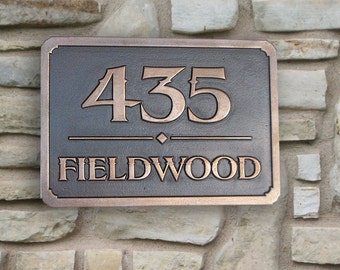 Address Plaque Coated in Bronze with Brown Patina