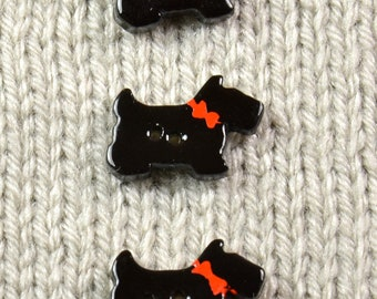 Handpainted ceramic scotty dog buttons, x3