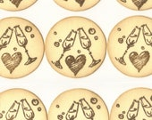 Wedding Toast Flutes / Wedding Envelope, Invitation Sticker Seals / Favor Bag Seals