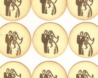Bride and Groom / Wedding Envelope, Invitation Sticker Seals / Favor Bag Seals