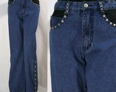 1980s Women's Blue Denim Bell Bottom Jeans with Decorative Studs & Matching Metal Buttons on Flair Sides  - USED Brand - Size 27 Waist