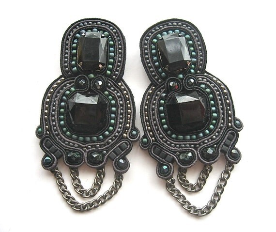 DARK KNIGHT  soutache earrings in black, gunmetal and iris teal